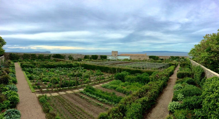 A view of the Orkney Isles from the beautiful walled garden of the Castle of Mey