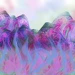 meadow grasses in front of mountains, all in purples, blues, pinks and greens.