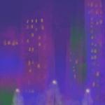 a foggy city landscape at night